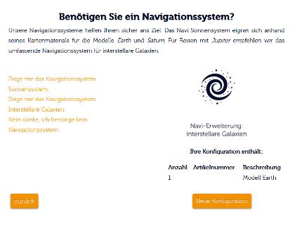 Visuelle Ausgabe des Online-Konfigurations-Tools