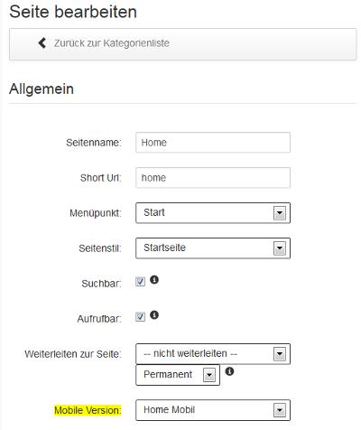 Mobile Version für Webseiten