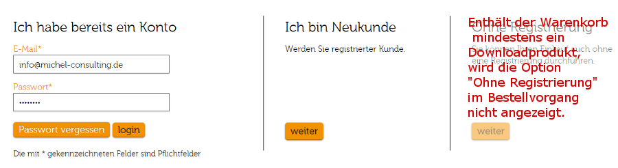 Bestellvorgang mit Registrierung