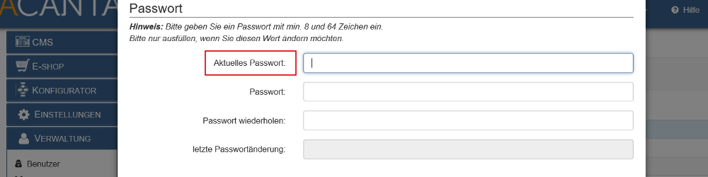 Passwort ändern nach Eingabe des aktuellen Kennworts