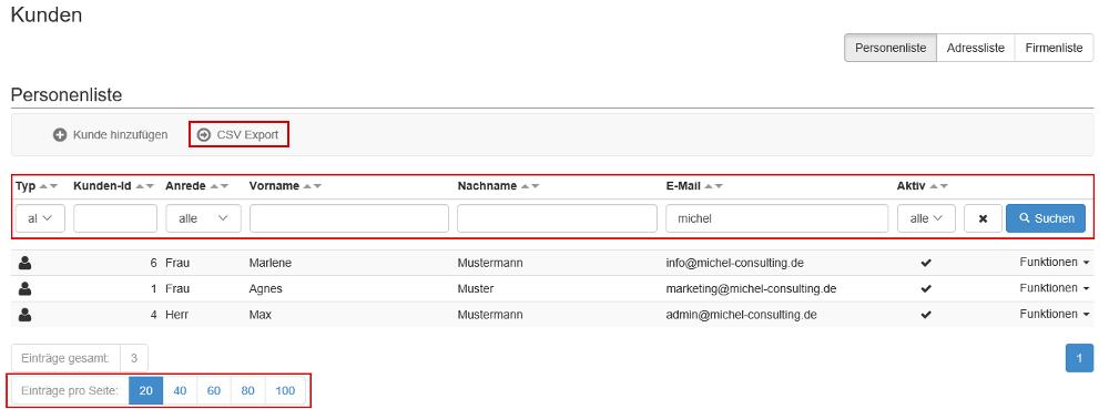 Kundendaten filtern und exportieren