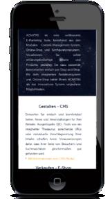 Mobile Darstellung einer Webseite